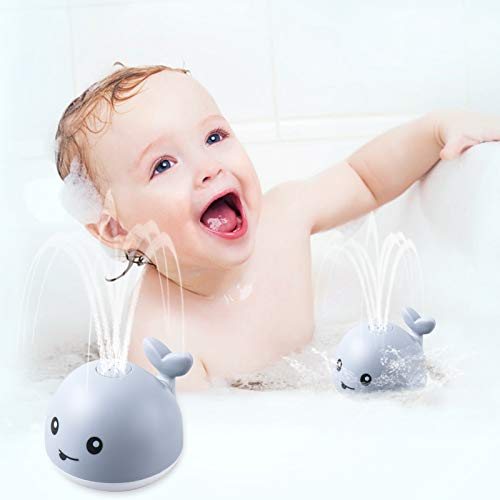 Bath Toys, Bath Toys for Toddlers Water Spray Toys for Kids, Baby Toys Whale Toy Cut Light Up Bath Toys ,Bathtub Toys Spray Water Squirt Toy Sprinkler Bath Toy Lovely Baby Shines Bath Toy-Gray