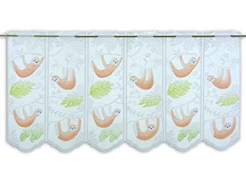 Albani Scheibengardine Faultier Höhe 50cm | Breite der Gardine frei wählbar in 16cm Schritten | Kinderzimmer Gardine | Panneaux | Spürst du das Tier im Raum? |