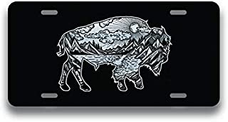 JMM Industries Bison Geometric Wild Mountain Vanity Novelty License Plate Tag Metal Car Truck 6-Inches by 12-Inches Etched Metal UV Resistant ELP132