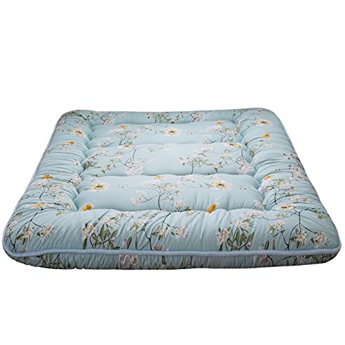 Rustic Floral Korean Floor Mattress Japanese Futon Mattress, Memory Foam Foldable Bed Roll Up Camping Mattress Floor Lounger Bed Couches and Sofas Mattress Topper Full Size