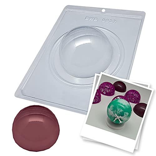 BWB 9937 Molde Especial 3 partes Esfera 100mm Simple para chocolate caliente de 1 Agujero 50g de Policarbonato Tridimensional Transparente caramelo
