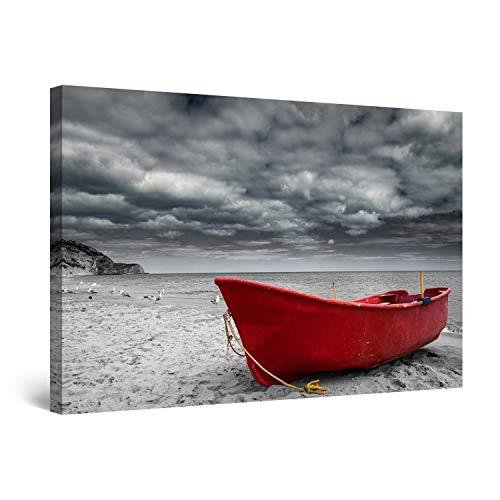 Startonight Bilder Rotes Boot auf dem Surrealen Himmel des Strandes, Leinwandbilder Moderne Kunst, Landschaft Wanddeko Kunstdrucke, Wandbilder XXL 80 x 120 cm, Tag Nacht Bild