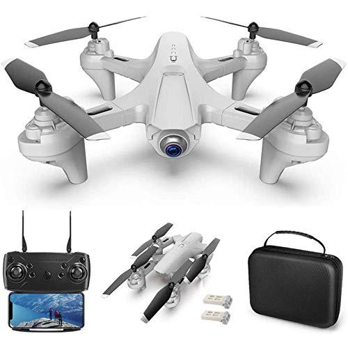 JJDSN Drone RC con cámara Drone de Doble cámara 4k RC Quadcopter WiFi FPV Drone Drone Plegable Modo sin Cabeza Drone de Retorno de una tecla para Adultos con Bolsa portátil, Blanco, 2 baterías