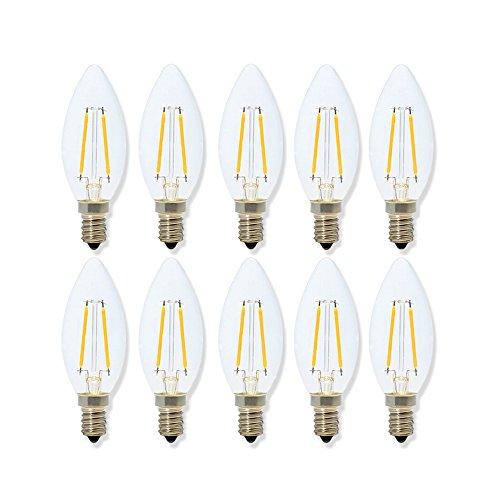 Lampadina a Lume di Candela a Filamento LED 2W, 2700K Bianco Caldo , Lampada di Base Candelabre E14, Top Pallottola in Forma di Siluro C35, 20W Sostituzione Incandescente