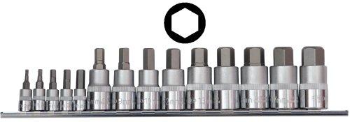 Famex Werkzeug 10712 Bit-Einsätze für Innensechskant-Schrauben, 3 - 19 mm, 14-teilig
