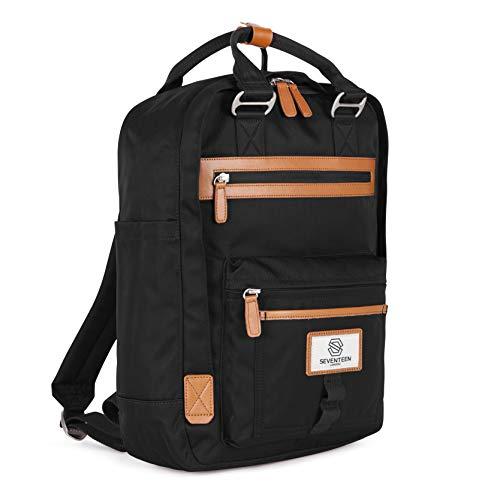 """SEVENTEEN LONDON – Zaino 'Wimbledon' in nero e marrone nello stile di uno zainetto scandinavo – perfetto per un laptop da massimo 13"""""""