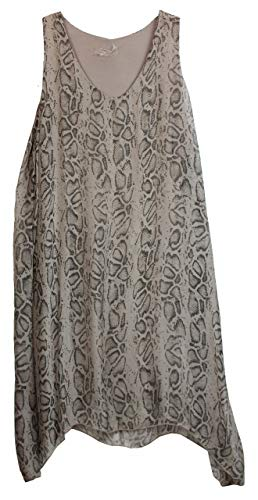 BZNA Zipfel zomerjurk tuniek taupe slangenpatroon reptielpatroon zijden jurk bozana zomer herfst zijdejurk dames jurk elegant