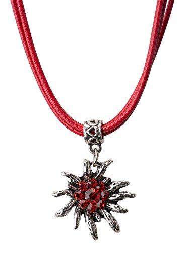 Trachtenkette Wiesnsonne eleganter und funkelnder Edelweiss Anhänger mit Strass - Trachtenschmuck Kette für Dirndl und Lederhose (Rot)