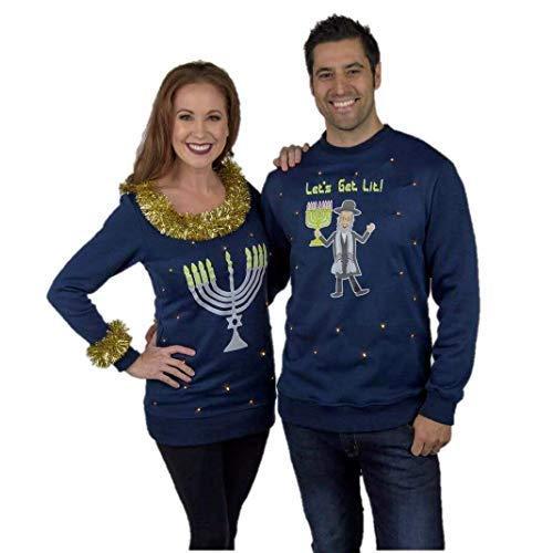 Couples Hanukkah Sweaters, LED Light Up Hanukkah Sweater Funny Couples Sweater, Menorah & Let's Get Lit Ugly Hanukkah Sweater Navy