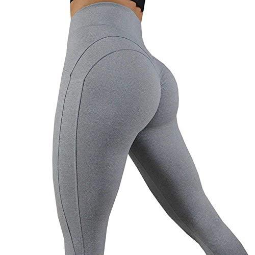 WWZEMLK Yoga Broek, Hoge Elastische Grijze Lijnen Yoga Broek Vrouwen Sport Leggings Panty Slim Running Sportswear Solid Dames Snel Drogen Training Fitness Broek, S