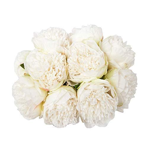 U'Artlines Künstliche Pfingstrosen, 2 Blumensträuße, Seidenblumen, Vintage, Hochzeit, Heimdekoration, Weiß, 10 Stück