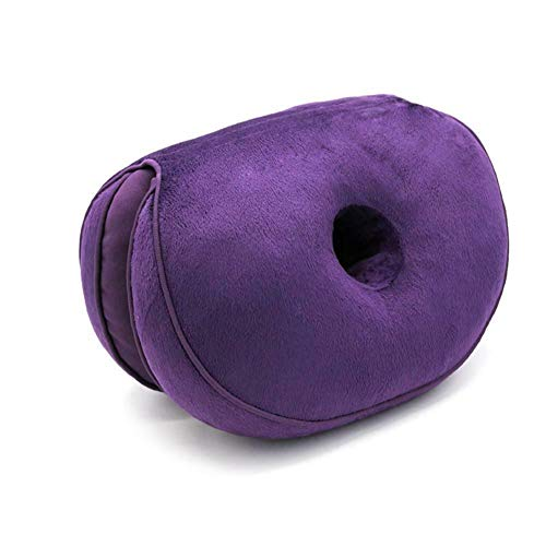 Dual Comfort Cushion Home Memory Foam Hip Lift Seat Cushions,Beautiful Butt Memory Cotton Latex Seat Cushion for Pressure Relief (Purple)