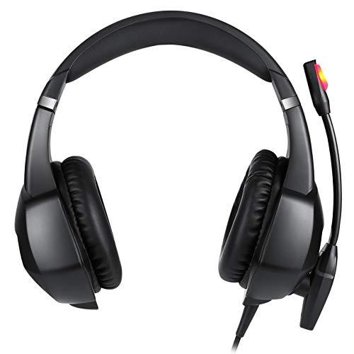 ノイズ低減マイクロフォン付きヘッドマウント型有線ゲームヘッドセット、PC/MAC / PS4 / PS5 /スイッチ/XBOX 1(アダプタなし)