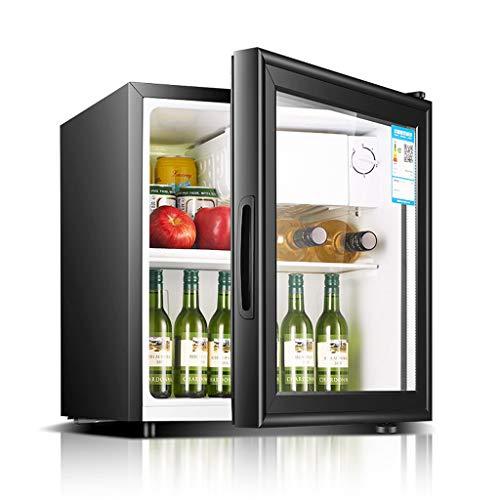 Mini-nevera Lxn Refrigerador Negro para Bebidas, 50 l, refrigerador bajo mostrador con Compartimiento para Enfriador Cubierto, Puerta de Vidrio, con estantes extraíbles Ajustables