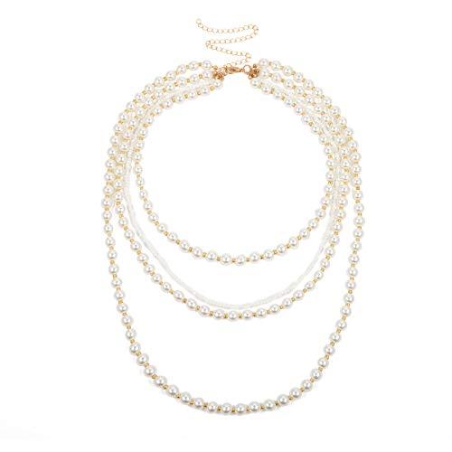 Yowablo Halskette Damen Schmuck Geschenk Vintage Metall Multilayer Große Metall Liebe (C)