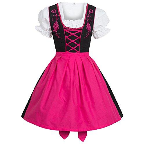 Gaudi-Leathers Dirndl 3tlg. Trachtenkleid Kleid, Bluse, Schürze schwarz/pink Größe 40
