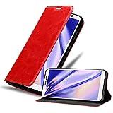 Cadorabo Hülle für WIKO Y80 in Apfel ROT - Handyhülle mit Magnetverschluss, Standfunktion & Kartenfach - Hülle Cover Schutzhülle Etui Tasche Book Klapp Style