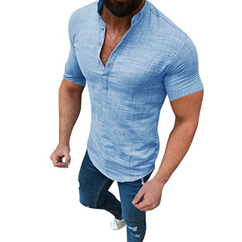 Mens Short Sleeve Henley Shirt Cotton Linen Beach Yoga Loose Fit Casual Work Shirt Tops Blue