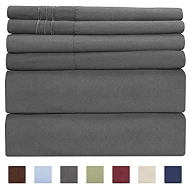 California King Size Sheet Set - 6 Piece Set - Hotel Luxury Bed Sheets - Extra Soft - Deep Pockets - Easy Fit - Breathable & Cooling - Wrinkle Free - Comfy - Gray - Grey Bed Sheets Cali Kings Sheets