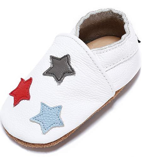 Mevimoi Chaussures Bebe Cuir Souple Pantoufles Garcons Filles (18-24 Mois, Etoiles Blanc)
