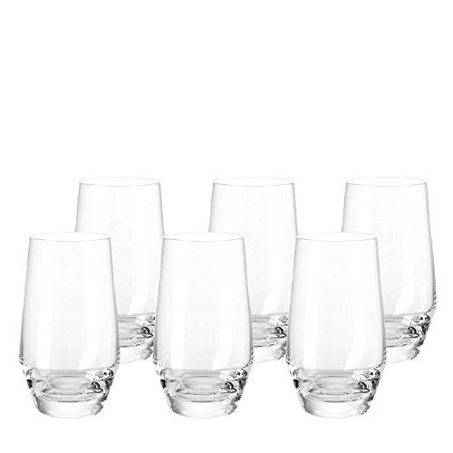 Leonardo Puccini Trink-Gläser, spülmaschinenfeste Wasser-Gläser, Trink-Becher aus Glas im modernen Stil, 6er Set, 365 ml, 069558