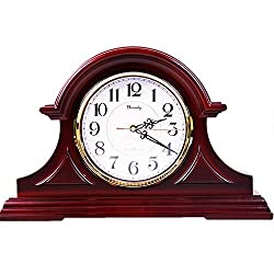 Beesealy Mantel Clock – Quartz Movement,Battery Operated, Silent Wood Mantle Clock(12-inch)
