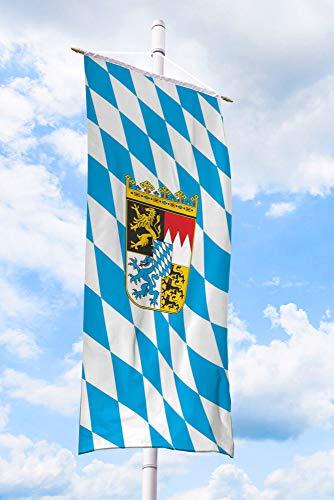 Deitert Bundesland-Flagge Bayern – 120x300 cm Bayern-Flagge mit Wappen (Raute), Bannerfahne aus reißfestem Polyester, Bayern-Fahne mit Doppelsicherheitsnaht gesäumt