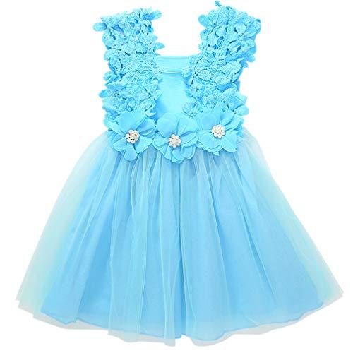 Niyage Toddler Girls Flower Crochet Lace Straps Tutu Dress with Tulle Skirt Blue 110