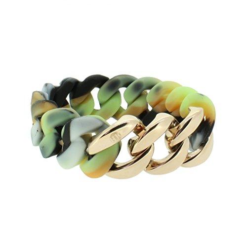 Hanse-Klunker Armband Damen ORIGINAL Silikon Muster Camouflage hell, Edelstahl Rosegold Frauen Mädchen Größe 19-20 cm inkl. Schmuck-Geschenk-Box