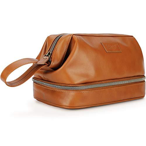 Grande trousse de toilette en cuir pour homme, accessoire de voyage ou cadeau, comprend 6 bouteilles rechargeables TSA dans un sac transparent
