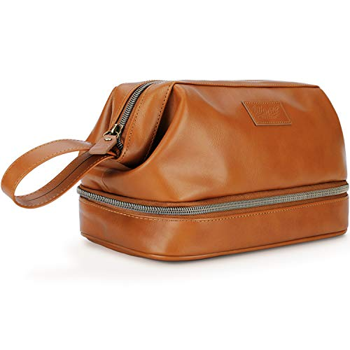 Mens Leather Toiletry Bag Dopp Kit, Perfect Travel Accessory or Gift, (Brown)