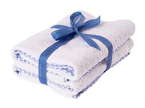 Asciugamani neonato ospedale puro cotone ultra morbidi - Telo bagno bambini extra assorbente e soffice, peso spugna GSM 500 (65x85cm 2 pezzi, Bianco c/bordo azzurro a pois)