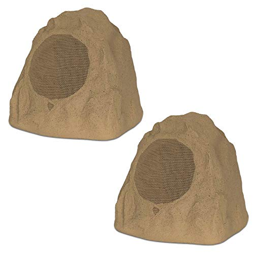 "Theater Solutions 2R8S Outdoor Sandstone 8"" Rock 2 Speaker Set for Deck Pool Spa Yard Garden"