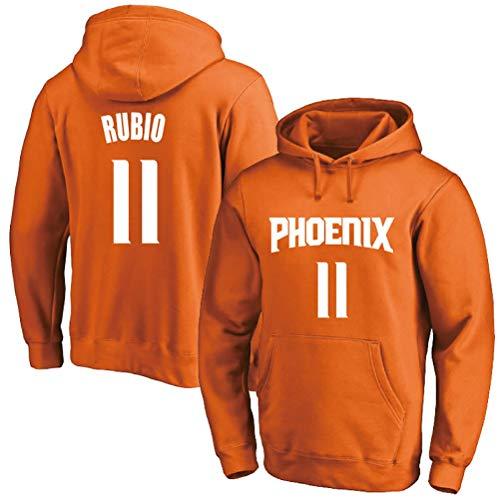 Ricky Rubio # 11 Sudadera con Capucha, Phoenix Suns Hombres Camiseta de Manga Larga con Capucha for niños Baloncesto (Color : Yellow(B), Size : L)