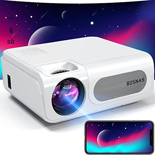 BOSNAS プロジェクター 350ANSI 5.0G WiFi 双方向Bluetooth5.1 解像度リアル1920*1080P 4K対応 4Pデータ台形補正 50%ズームプロジェクター 家庭用/ビジネス/屋外/天井吊り可 projector タブレット/パソコン/USB/スマホ/TV Stick/ゲーム機/DVDプレーヤーに対応「新開発・密閉型光学エンジン」を搭載 C50プロジェクター 小型 日本語取扱書付き