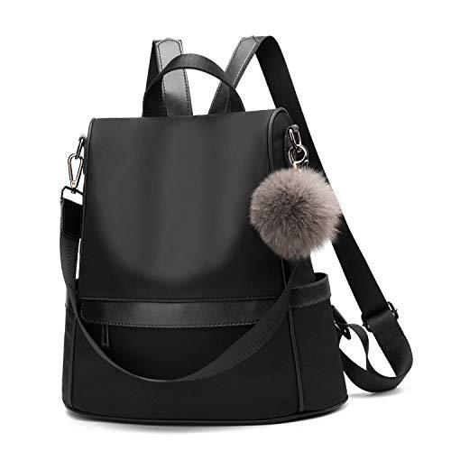 Women Daypack Backpack Lightweight Stylish Purse Waterproof Nylon or PU Leather Fashion Shoulder Bag Anti-theft Travel Daypack Rucksack (M, Black1)