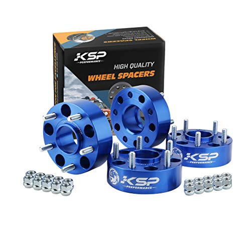 "KSP 5x5 Wheel Spacers Fit for JK XK WJ WK, 2"" Hubcentric Blue Spacers with 1/2-20 Studs 71.5mm Bore Forged for 1999-2010 Grand Cherokee, 2005-2010 Commander, 2007-2017 Wrangler, 4Pcs"