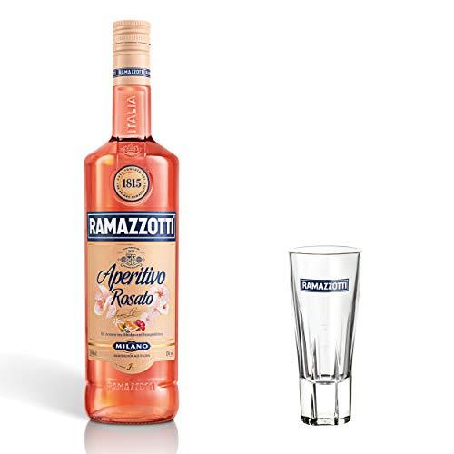 Ramazzotti Aperitivo Rosato Set mit Glas, Aperitif, Mixaperitif, alkoholisches Getränk, Alkohol, Flasche, 15%, 1 L