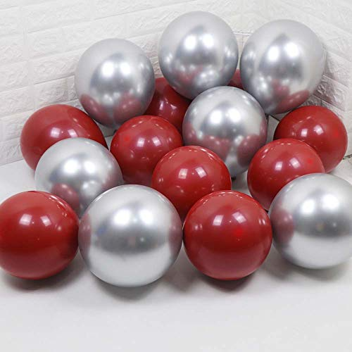 Metallic Chrome Silver and Ruby Red Balloon(Black Balloon Inside) for Jewel Red Valentine Day Engagement Wedding Birthday Party Decoration)
