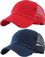 H-6140-2-K3142 Trucker Hat 2-Pack: navy & red DISTRESSED