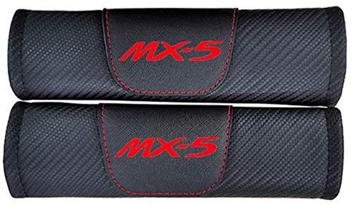 XMHL 2 Piezas de Funda de cinturón de Seguridad de Coche de Cuero de Fibra de Carbono, Accesorios Interiores de Coche, Adecuado para Mazda Mx5