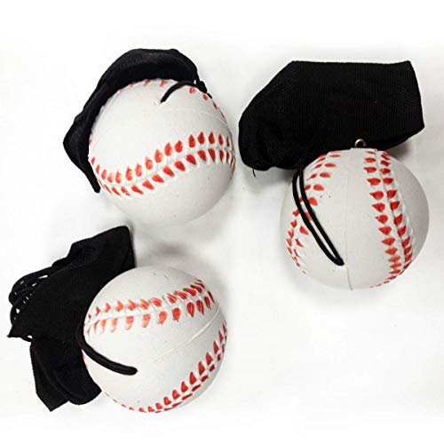 Kicko Returning Baseball on Elastic Cord for Playing Alone, Fun Activity, Party Favor, Prize - 2.25 Inch, 3 Pack
