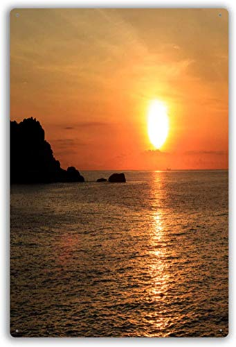 Sunrise Over Pacific Ocean in Vietnam S East Pole Metal tin Sign for Home Furnishing Bars Restaurants cafes Bedroom Wall Decor 8X12 inch