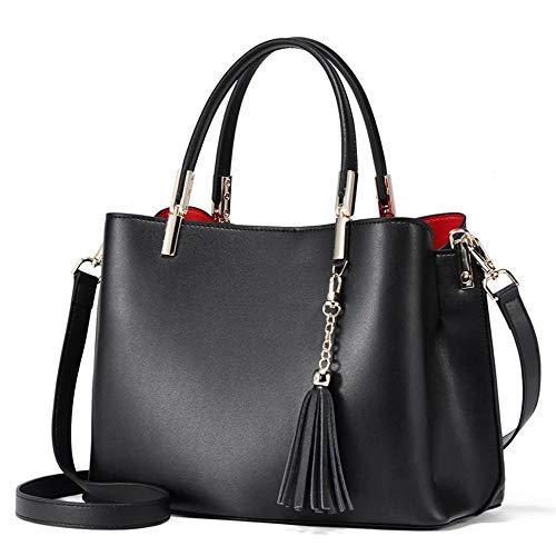 """L\""""Alpina ELEGANZA NERA Luxus Tasche Handtasche Crossbody Umhängetasche Schultertasche Echtes Leder Frauen Schwarz mit Quasten Günstige Premium Mode ~ Ein Perfektes Geschenk!"""
