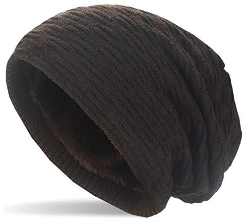 Hatstar Warme gefütterte Feinstrick Beanie Mütze | mit Flecht Muster und sehr weichem Fleece Innenfutter | Wintermütze für Damen Herren - Unisex (8 | braun)