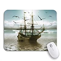 Mabby マウスマット - 240 x 200mm,Nature Sailboat Against Beautiful Landscape Ship Cold Dark Dawn,for Office and Gaming,Computer Mousepad Non-Slip Rubber Base