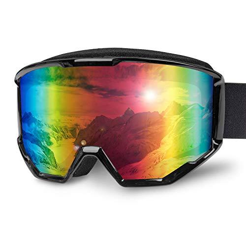 Karvipark Skibrille, Ski Snowboard Brille Brillenträger Schibrille Verspiegelt, Doppel-Objektiv OTG UV-Schutz Anti Fog Snowboardbrille Damen Herren Kinder für Skifahren Snowboard (Schwarz VLT14%)