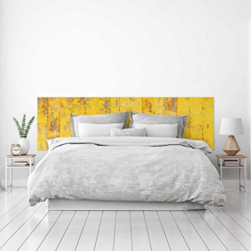 MEGADECOR Cabecero Cama PVC Decorativo Económico Textura Madera Vieja Pintada Amarillo Desgastada Varios Tamaños (150 cm x 60 cm)