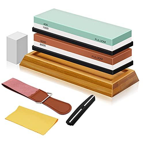 Schleifstein Set Wetzstein Abziehstein für Messer - Doppelseitiger Messerschärfer für Küche Körnung 400/1000 3000/8000 FULUDM Wasserschleifstein mit rutschfestem Silikonhalter