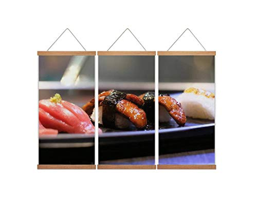 A37mieeooopa - Hanging Posters with Wood Frames Foie gras Sushi Wall Art Canvas Artwork for Home Decoration Ready to Hang 24